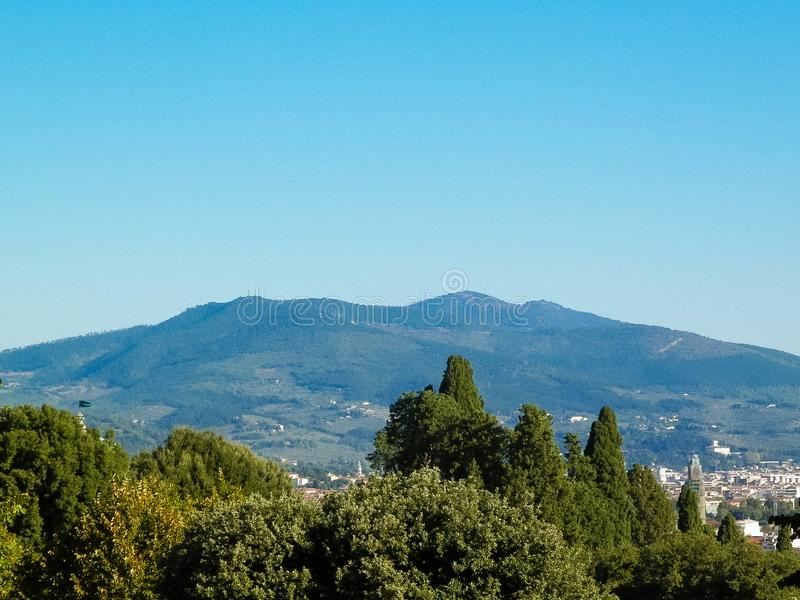View of the Apennines near Florence, Italy. View of the Apennines near Florence, Tuscany. Vacations in Italy, travel concept stock image