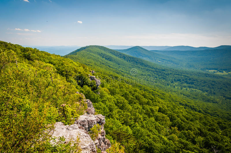 View of the Appalachian Mountains from cliffs on Big Schloss, in royalty free stock images