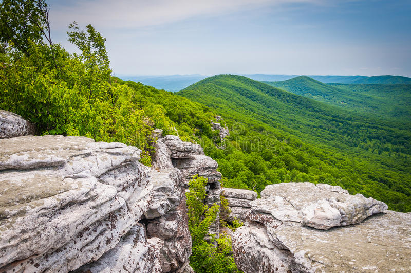 View of the Appalachian Mountains from cliffs on Big Schloss, in royalty free stock photo