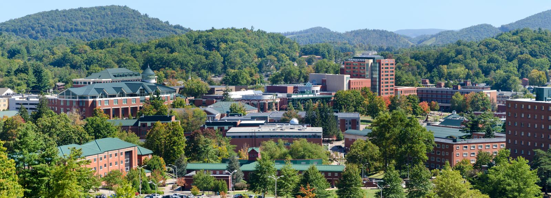 View on Appalachian State University stock image