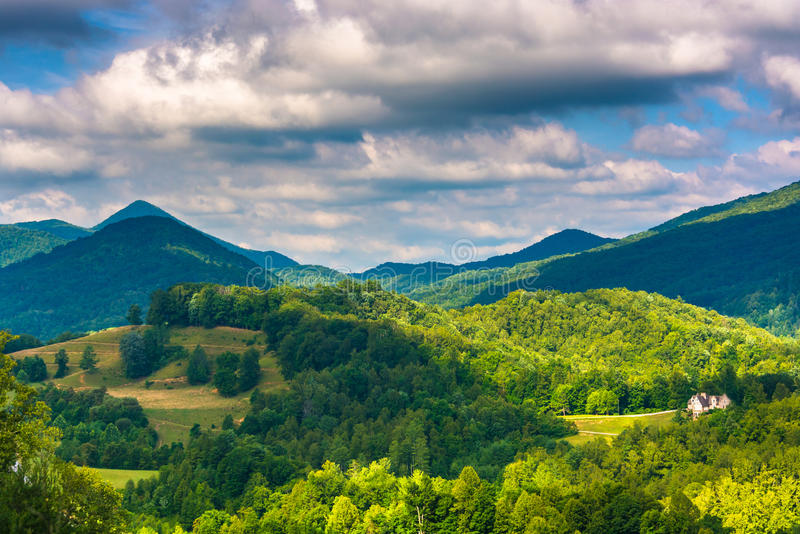 View of the Appalachians from Bald Mountain Ridge scenic overlook along I-26 in Tennessee. View of the Appalachians from Bald Mountain Ridge scenic overlook stock photos