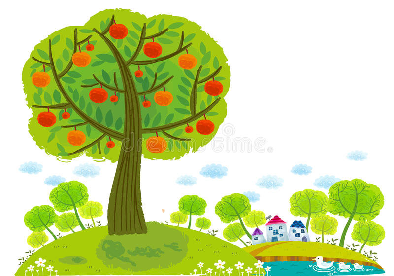 The view of apple tree around lake stock illustration