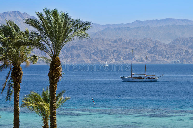 View on the Aqaba from coral beach, Eilat. This shot was taken on the northern beach of Eilat, Israel royalty free stock photo