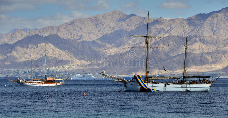 View on the Aqaba gulf (Red Sea) near Eilat. Eilat is a famous resort and recreation city in Israel stock image