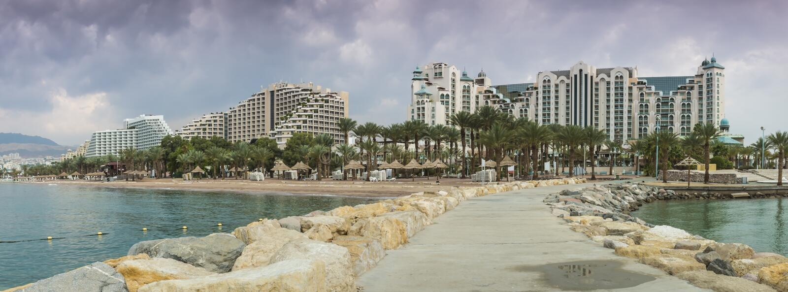 View at the Aqaba Gulf from Eilat, Israel royalty free stock photography