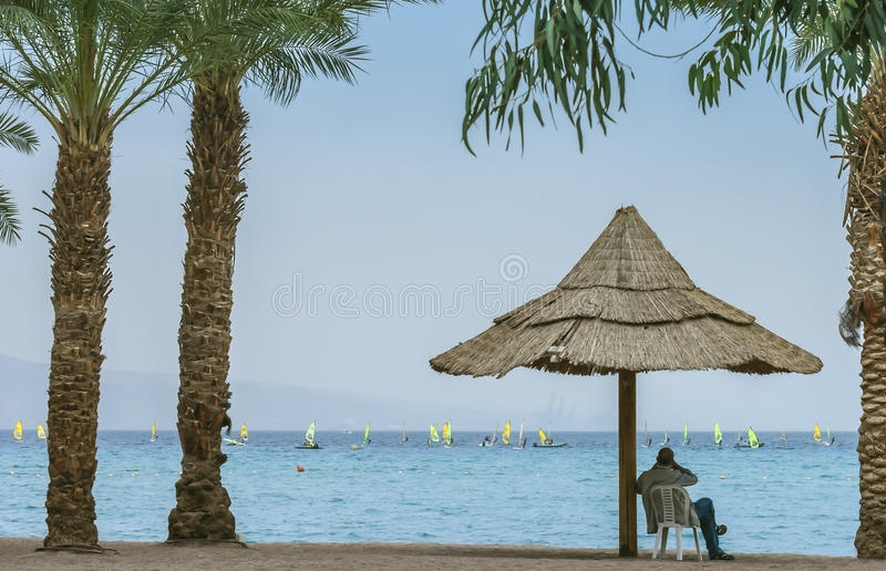 View at the Aqaba Gulf from Eilat, Israel royalty free stock photo