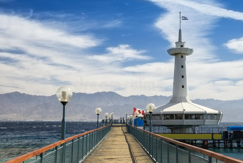 Underwater observatory in Eilat, Israel. View on the Aqaba gulf and marine underwater observatory, Eilat, Israel stock images