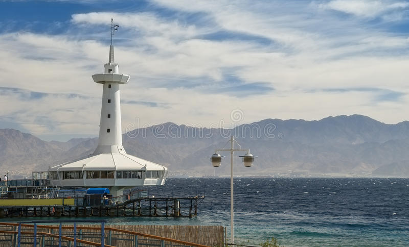Underwater observatory in Eilat, Israel. View on the Aqaba gulf and marine underwater observatory, Eilat, Israel stock photos