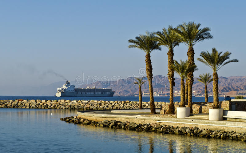 View on Aqaba gulf and northern beach of Eilat stock photography