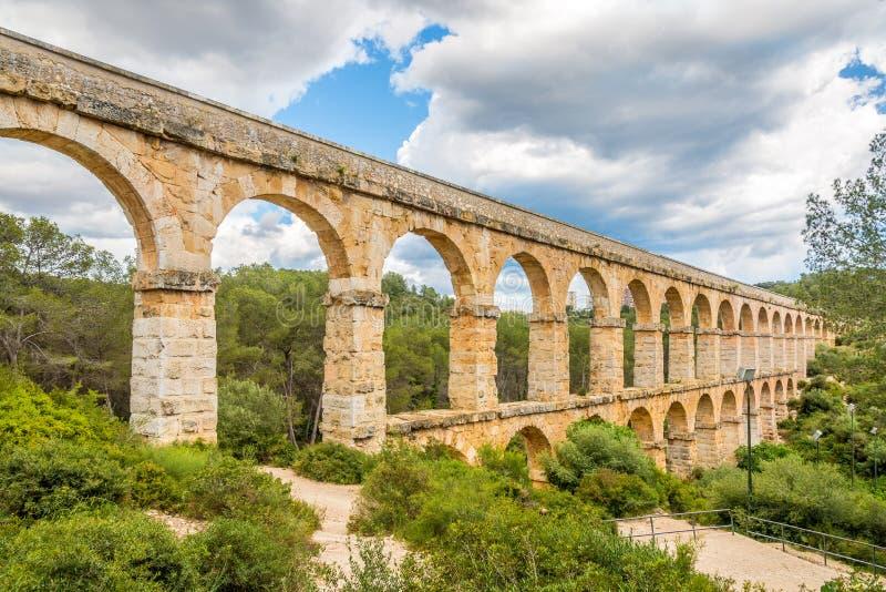 View at the Aqueduct Les Ferreres in Tarragona - Spain stock photos