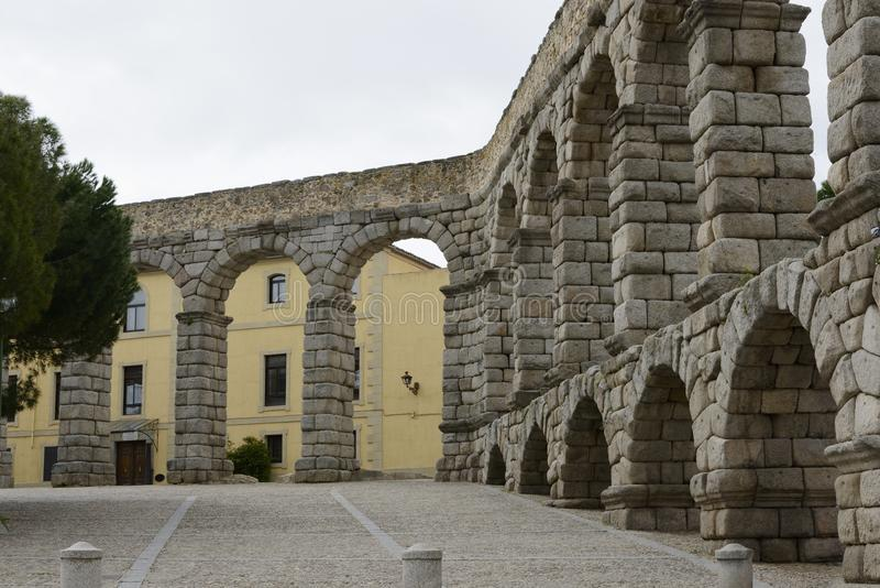 View of the Aqueduct in Segovia Spain. Perspective stock photo