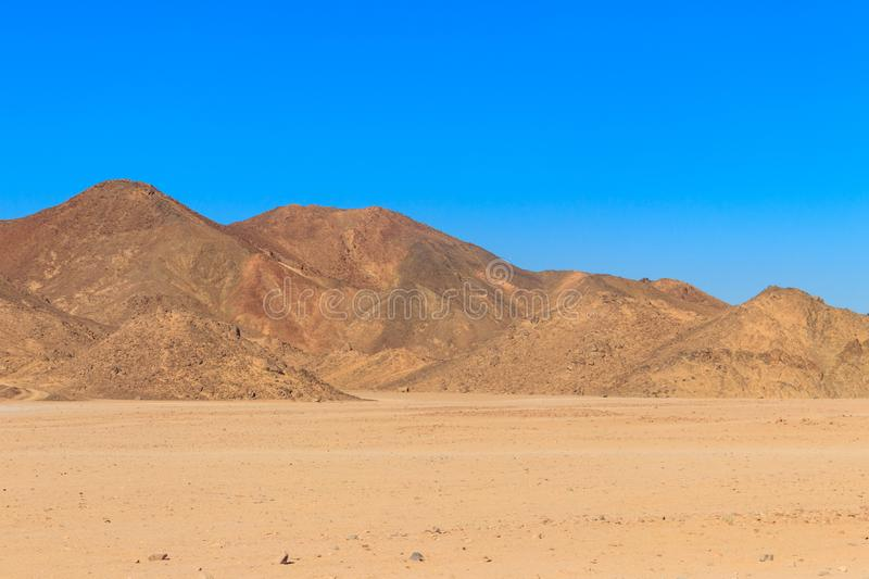 View of Arabian desert and mountain range Red Sea Hills in Egypt royalty free stock photography