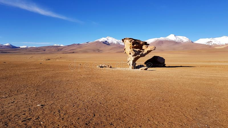 View of the Arbol de Piedra `stone tree`, an isolated rock formation in Bolivi stock images