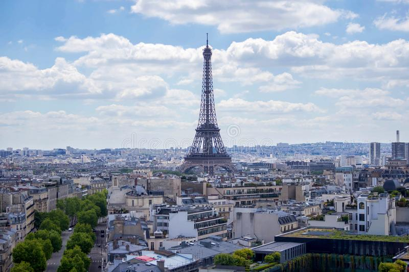 View from Arc de Triomphe on Eiffel Tower, Paris, France royalty free stock photo