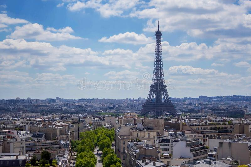 View from Arc de Triomphe on Eiffel Tower, Paris, France royalty free stock images
