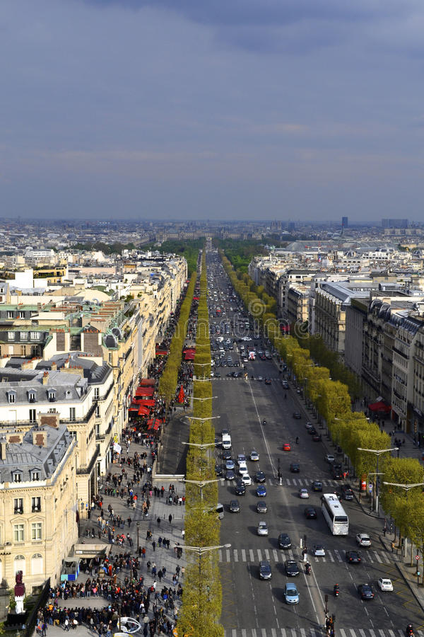 View from the Arc de Triomphe stock photo