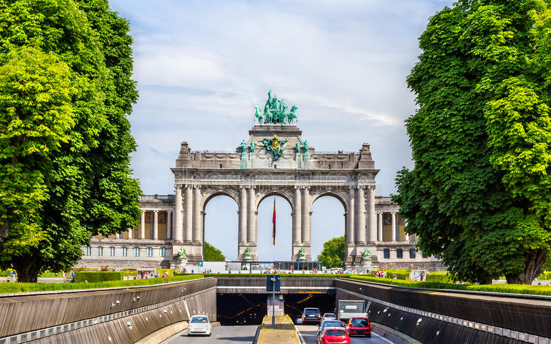 View of Arcade and Tunnel of Cinquantenaire stock image