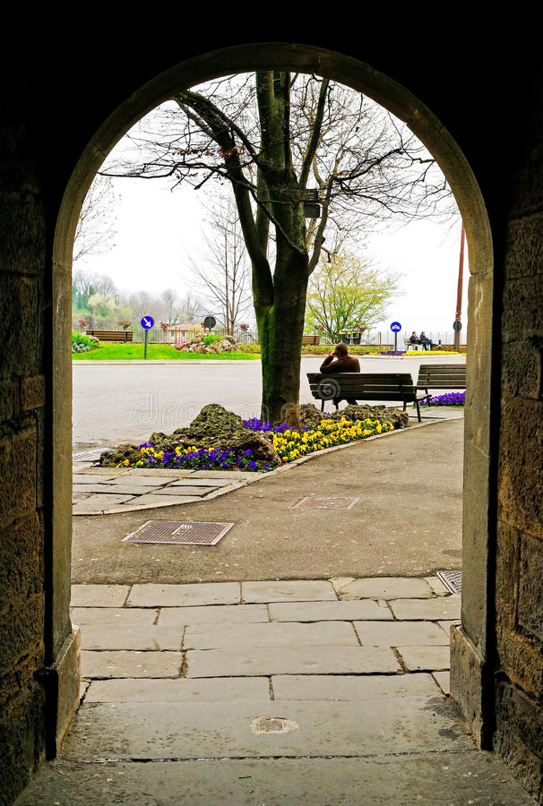 View through arch. royalty free stock image