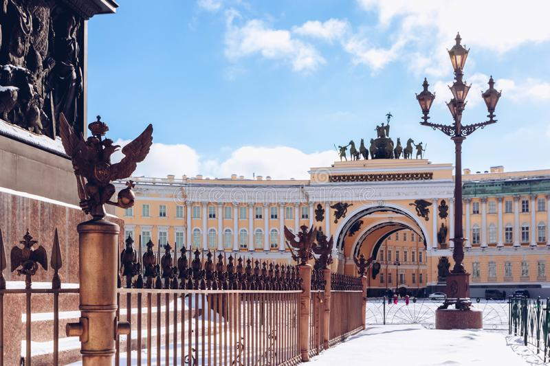 View of Arch of General Staff  in Palace Square at frosty snow winter day, St. Petersburg, Russia.  royalty free stock photos