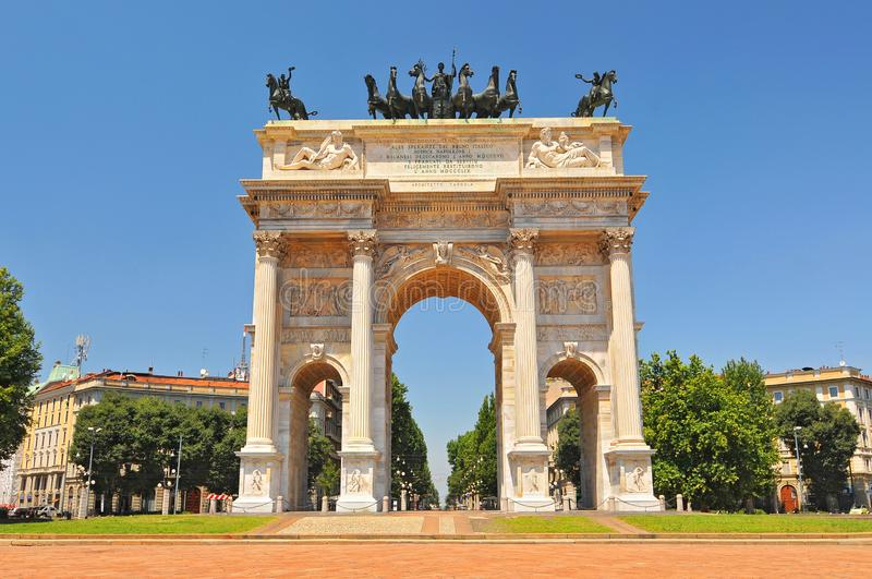 View of the Arch of Peace, Milan, Italy.  royalty free stock photography