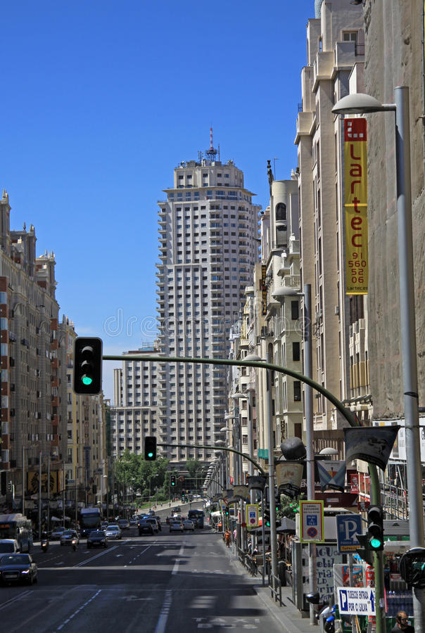 View of the architecture of Gran Via street in Madrid, Spain stock photography