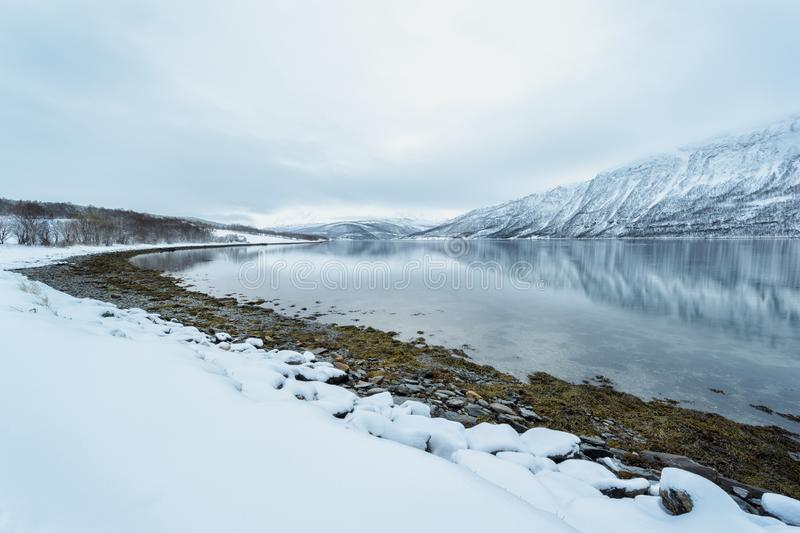 View of Arctic bay in Norway during Polar night. With snowcovered mountains in background, Balsfjord, Norway royalty free stock images
