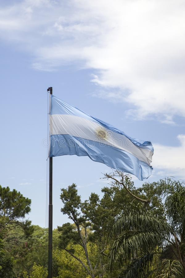 Argentina flag in Buenos Aires. View at the Argentina flag in Buenos Aires royalty free stock photos