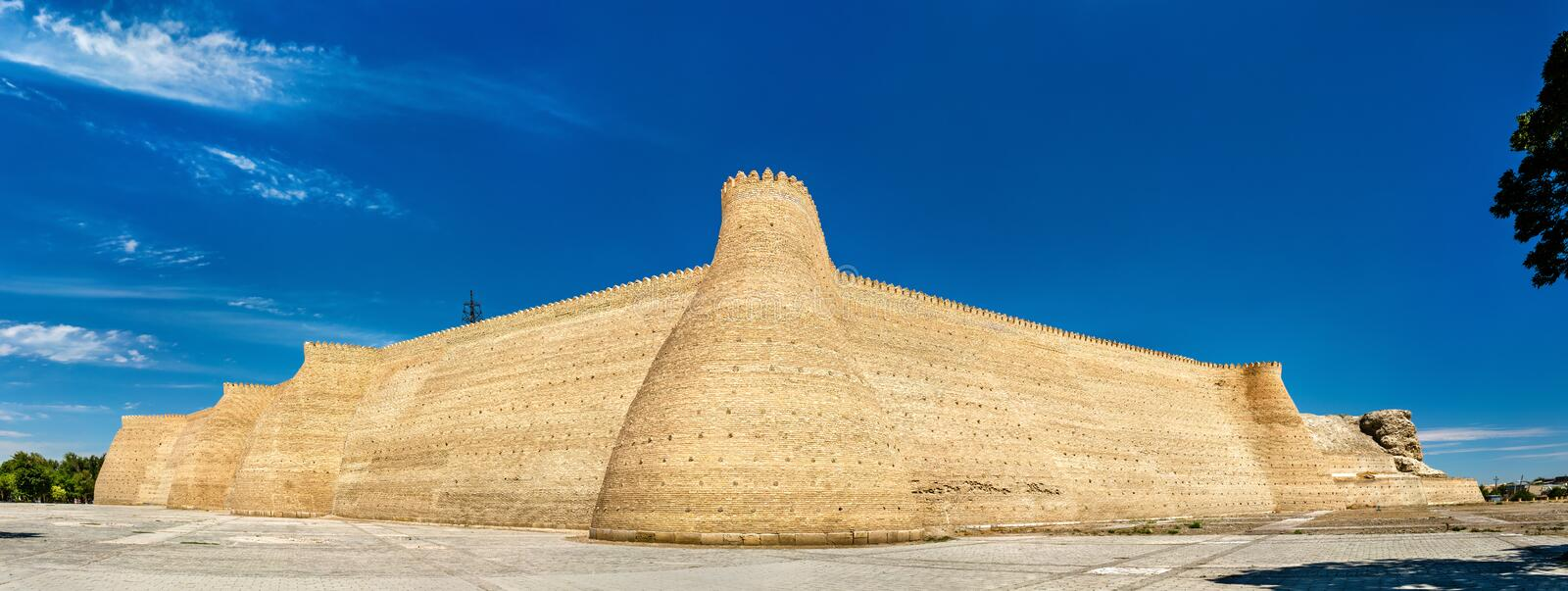 View of the Ark fortress in Bukhara, Uzbekistan. View of the Ark fortress in Bukhara. UNESCO heritage site in Uzbekistan royalty free stock image