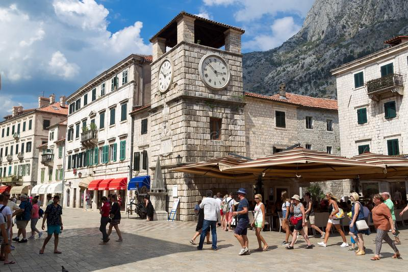View of the Arms Square in the Old Town of Kotor. stock image