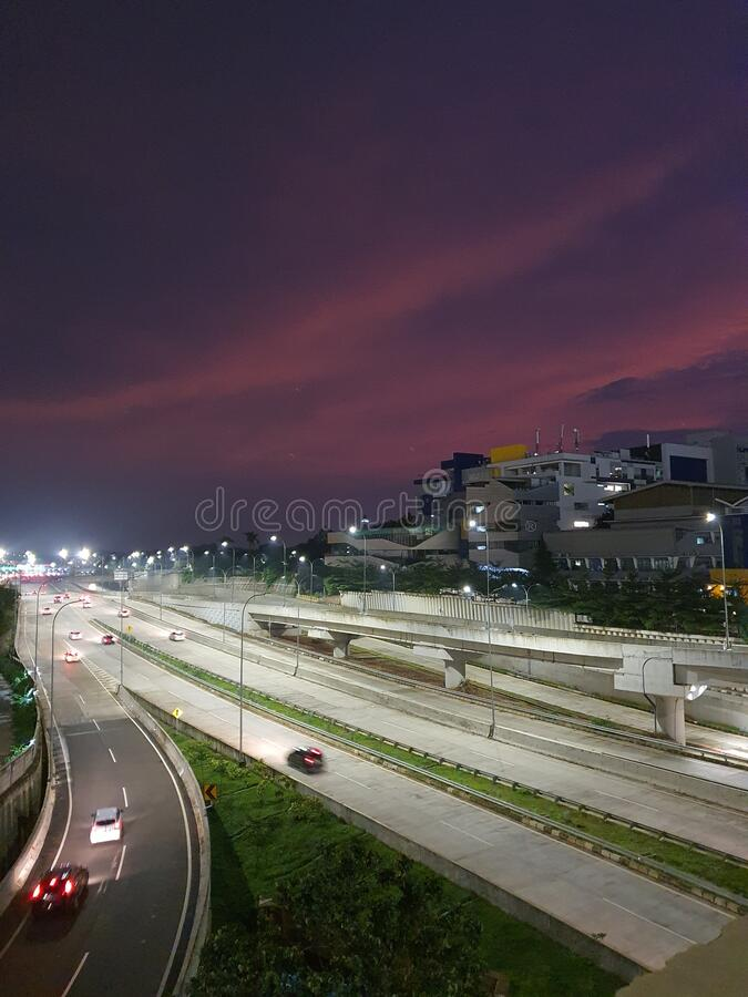 The view around the fatmawati toll road south of indonesia at night royalty free stock image
