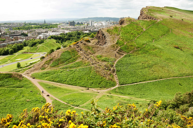 View from Arthur's Seat, Edinburgh. Arthur's Seat is the main peak of the group of hills which form most of Holyrood Park. It is situated in the centre of the royalty free stock photography