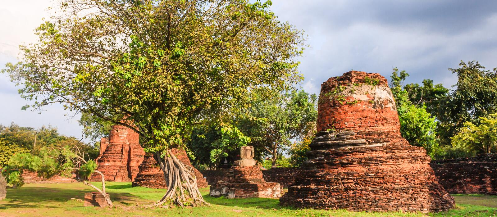 View of asian religious architecture ancient Pagodas in Wat Phra Sri Sanphet Historical Park, Ayuthaya province, Thailand. Southeast Asia. Thailand`s top royalty free stock photos