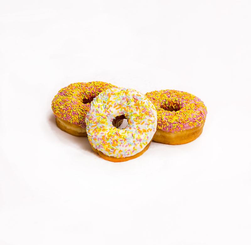 Assorted Donuts on white stock photos