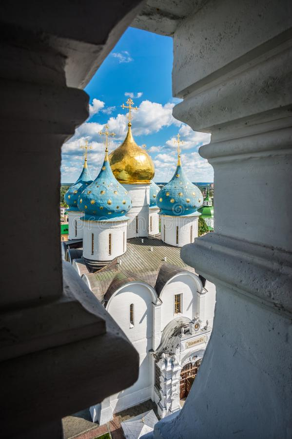 View of the Assumption Cathedral. Of the Lavra in Sergiev Posad from the height stock image