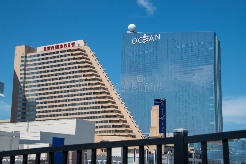 View of the Atlantic City skyline including the Showboat and Ocean Resort Hotel and Casinos as well as the House of Blues concert royalty free stock photos