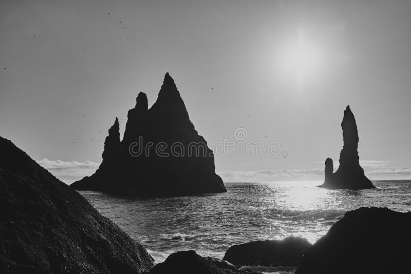Seascape. The Reynisfjara Beach stock images