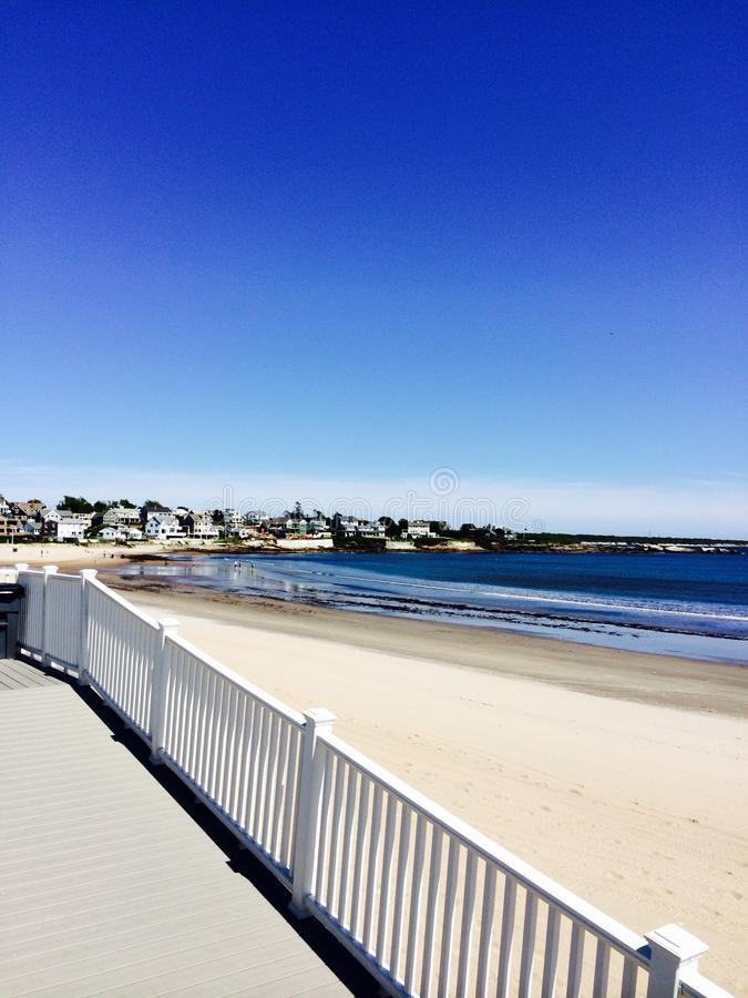 View of Atlantic Ocean from a New England beach resort stock images