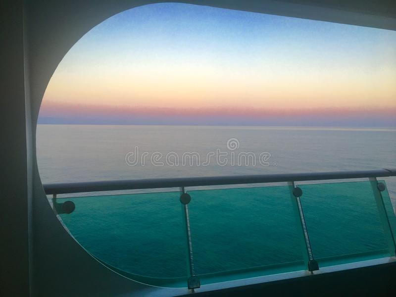 Ocean View with Sunset on Cruise Ship royalty free stock image
