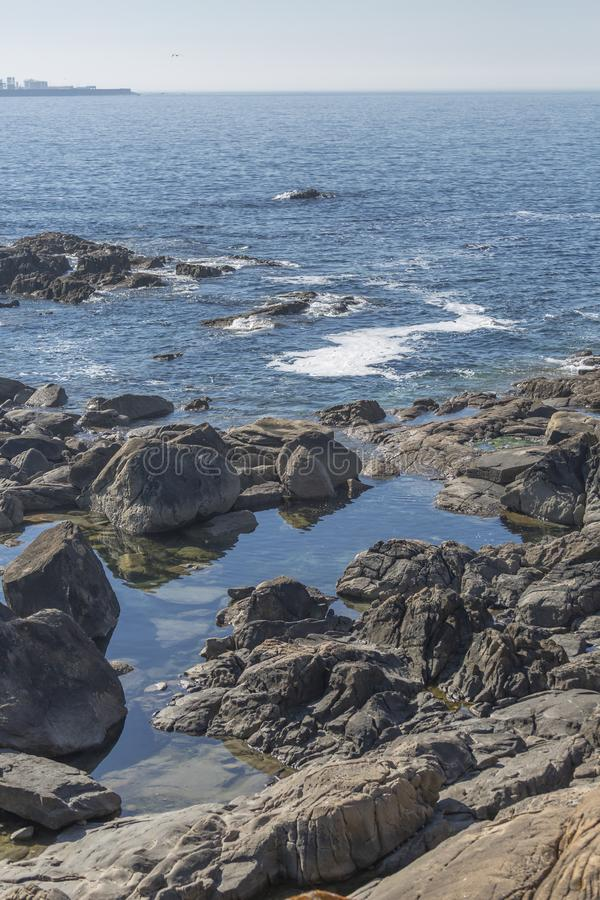 View of the atlantic ocean with sea and rocks on the coast of Leca da Palmeira stock photos