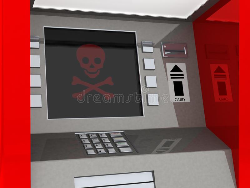 View of ATM in an isolated white background royalty free stock image