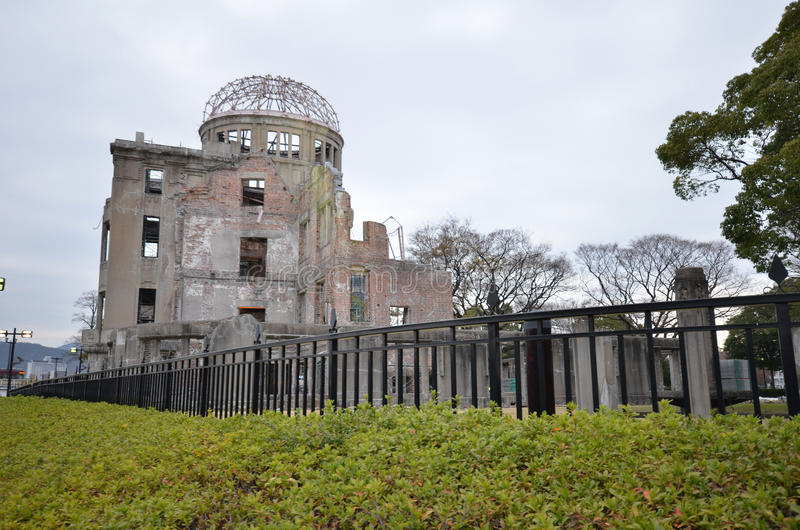 View on the atomic bomb dome in Hiroshima. HIROSHIMA, JAPAN - DECEMBER 11 2016 : View on the atomic bomb dome in Hiroshima Japan. UNESCO World Heritage Site royalty free stock photos