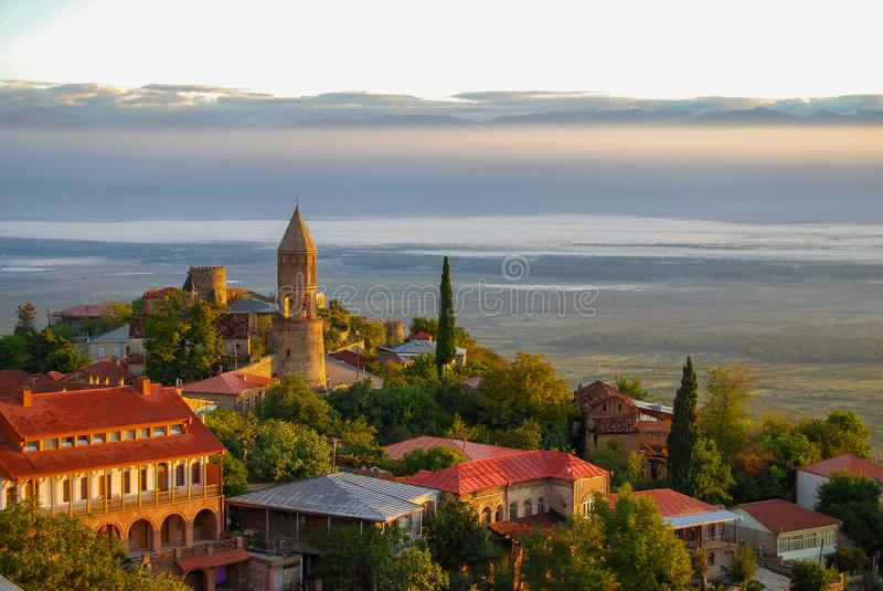 Sunrise above Sighanigi and Alazani Valley royalty free stock image