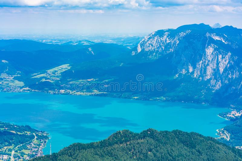 View of Attersee lake, Austria. View of Attersee lake from Schafberg mountain, Austria royalty free stock photos