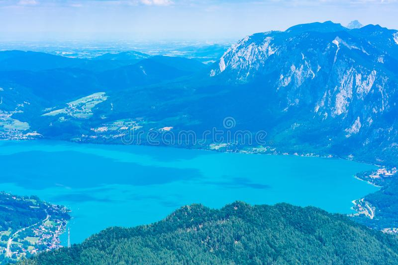 View of Attersee lake, Austria. View of Attersee lake from Schafberg mountain, Austria stock photo
