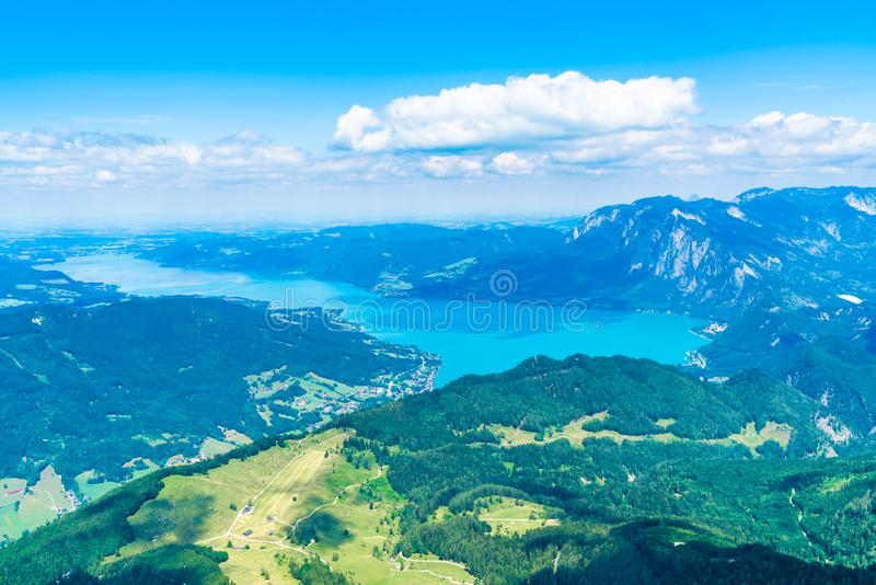 View of Attersee lake, Austria. View of Attersee lake from Schafberg mountain, Austria royalty free stock photography