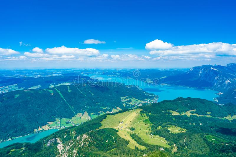 View of Attersee lake, Austria. View of Attersee lake from Schafberg mountain, Austria royalty free stock image