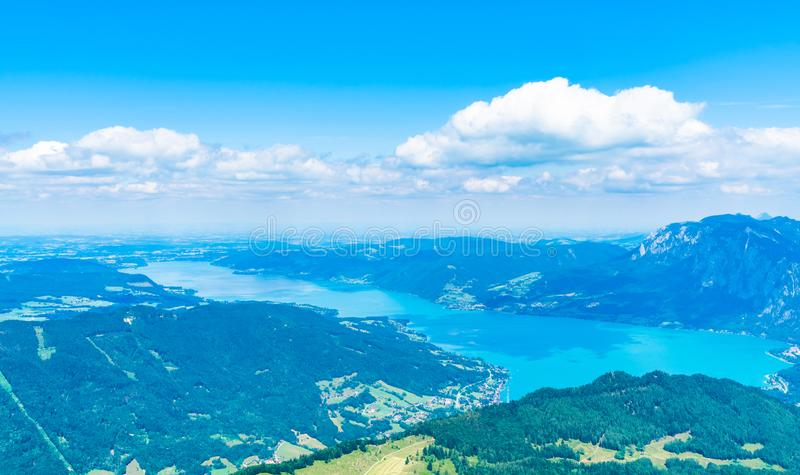 View of Attersee lake, Austria. View of Attersee lake from Schafberg mountain, Austria stock photos