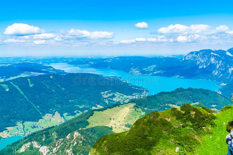 View of Attersee lake, Austria. View of Attersee lake from Schafberg mountain, Austria stock image