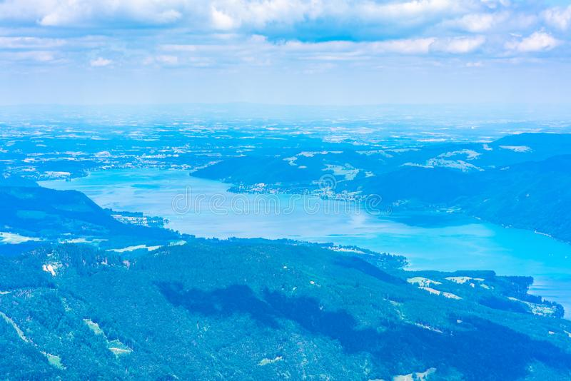 View of Attersee lake, Austria. View of landscape of Attersee lake from Schafberg mountain, Austria royalty free stock images