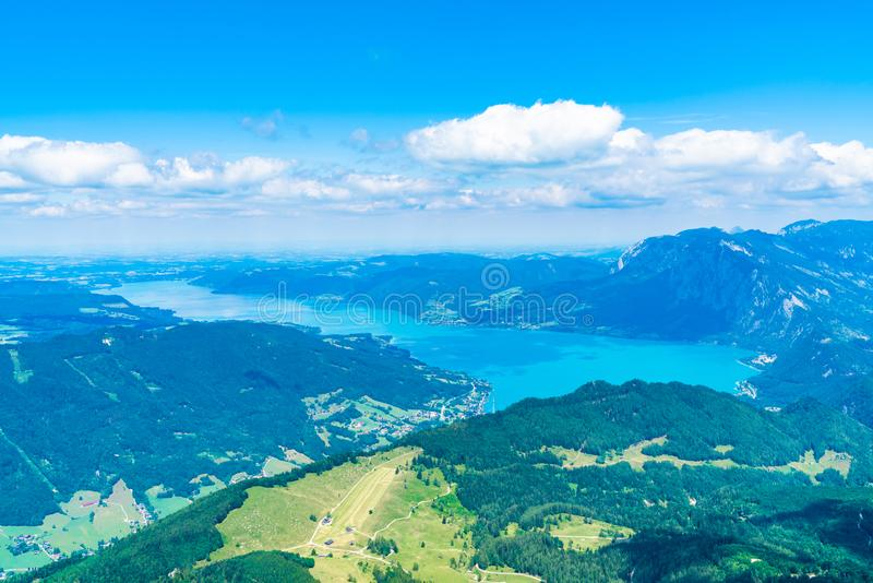 View of Attersee lake, Austria. View of Attersee lake from Schafberg mountain, Austria stock images
